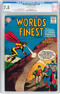 World's Finest Comics #90 (DC, 1957) CGC VF- 7.5 Off-white to white pages