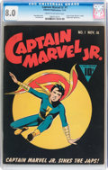 Golden Age (1938-1955):Superhero, Captain Marvel Jr. #1 (Fawcett Publications, 1942) CGC VF 8.0 Cream to off-white pages....