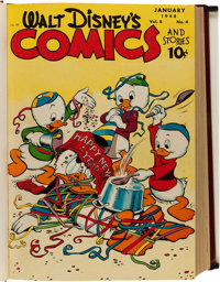 Walt Disney's Comics and Stories #88-99 Bound Volume Signed by Carl Barks (Dell, 1948)