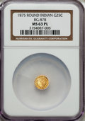 California Fractional Gold: , 1875 25C Indian Round 25 Cents, BG-878, R.3, MS63 Prooflike NGC.NGC Census: (5/14). ...
