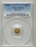 California Fractional Gold: , 1856 25C Liberty Octagonal 25 Cents, BG-111, R.3, MS64 PCGS. PCGSPopulation (40/12). NGC Census: (14/12). ...