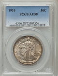 Walking Liberty Half Dollars: , 1916 50C AU58 PCGS. PCGS Population (163/1225). NGC Census:(98/1018). Mintage: 608,000. Numismedia Wsl. Price for problem ...