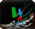 Animation Art:Production Cel, Superman/Aquaman Hour of Adventure The Atom Production CelSet-Up with Background Animation Art (Filmation, 1967).... (Total:3 Items)