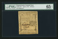 Colonial Notes:Pennsylvania, Pennsylvania April 3, 1772 18d PMG Gem Uncirculated 65 EPQ.. ...