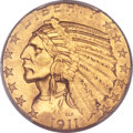 Indian Half Eagles, 1911-D $5 MS62 PCGS. CAC....