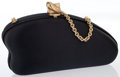 "Luxury Accessories:Bags, Kieselstein-Cord Black Satin Clutch with Gold Tone Hardware.Good Condition. Width 7"" x Height 4"" x Depth 3"", 21""Sho..."