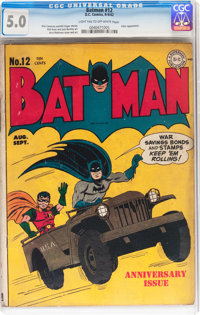 Batman #12 (DC, 1942) CGC VG/FN 5.0 Light tan to off-white pages