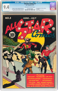 All Star Comics #5 (DC, 1941) CGC NM 9.4 Off-white to white pages
