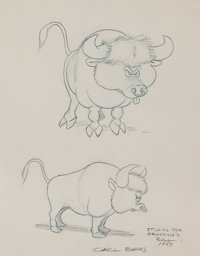 "Carl Barks ""Studies For Grandma's Bull"" Preliminary Original Art (1959)"