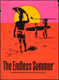 """The Endless Summer (Personality Posters, 1966). Silk-Screen Day-Glo Poster (29"""" X 40""""). Sports"""