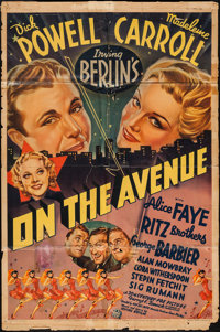 "On the Avenue (20th Century Fox, 1937). One Sheet (27"" X 41""). Musical"