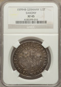 German States:Saxony, German States: Saxony. Three Brothers 1/2 Taler 1599-HB XF45 NGC,...