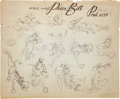 animation art:Model Sheet, Melody Time Pecos Bill Animation Model Sheet Print Group(Disney, 1948).... (Total: 3 Items)