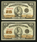 Canadian Currency: , DC-24c 25¢ 1923 Two Examples . ... (Total: 2 notes)