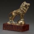 Bronze:European, AN AUSTRIAN GILT METAL LION AUTOMOBILE MASCOT, Graef & Stift,Vienna, Austria, circa 1930. 5-1/2 inches high x 6 inches wide...