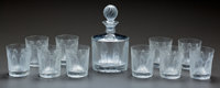LALIQUE CLEAR AND FROSTED GLASS FEMMES ANTIQUES DECANTER AND TEN WHISKEY TUMBLERS, p