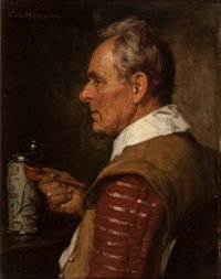 CARL WENDLING (German, 1851-1914) Man with a Stein and Pipe, 1904 Oil on panel 9-1/2 x 7-1/2 inch