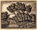 Fine Art - Work on Paper:Print, BIRGER SANDZÉN (American, 1871-1954). Brook with Cottonwoods. Linocut on paper. 7-3/4 x 9-3/8 inches (19.7 x 23.8 cm) (s...