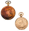 Timepieces:Pocket (post 1900), Two Elgin's Hunter's Case Pocket Watches One Is 14k Gold. ...(Total: 2 Pieces)