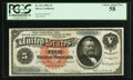 Large Size:Silver Certificates, Fr. 261 $5 1886 Silver Certificate PCGS Choice About New 58.. ...