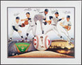 Baseball Collectibles:Photos, New York Yankees Multi Signed Cy Young Award Winners Lithograph....