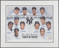 "Baseball Collectibles:Others, New York Yankees Signed ""Team of the Century"" Lithograph...."