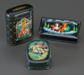 Decorative Arts, Continental:Other , THREE RUSSIAN LACQUERED BOXES, 20th century. Marks to tallest:(phoenix), (mark in Cyrillic). 3-1/2 x 2-7/8 x 1-3/8 inches (...(Total: 3 Items)