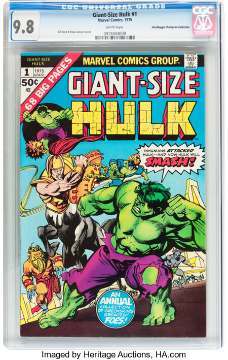 Giant-Size Hulk #1 Don/Maggie Thompson Collection pedigree (Marvel, 1975) CGC NM/MT 9.8 White pages....
