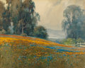 Fine Art - Work on Paper:Watercolor, PERCY GRAY (American, 1869-1952). Eucalyptus Grove with Poppiesand Lupine and Mount Tamalpais in the Distance, 1920. Wa...