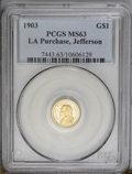 Commemorative Gold: , 1903 G$1 Louisiana Purchase/Jefferson MS63 PCGS. A splendid exampleof the first commemorative gold issue; sharply struck a...