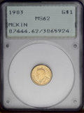 Commemorative Gold: , 1903 G$1 Louisiana Purchase/McKinley MS62 PCGS. This lustrous andlovely early gold commemorative offers decidedly clean su...