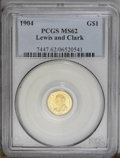 Commemorative Gold: , 1904 G$1 Lewis and Clark MS62 PCGS. Lustrous and flashy withprooflike surfaces and a bold strike. A few hairlines show in ...