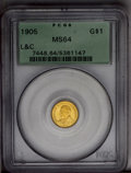 Commemorative Gold: , 1905 G$1 Lewis and Clark MS64 PCGS. Radiantly lustrous surfaces arecovered in rich yellow-gold patina imbued with subtle t...