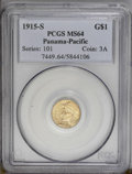 Commemorative Gold: , 1915-S G$1 Panama-Pacific Gold Dollar MS64 PCGS. An unusualexactness of strike is demonstrated on every detail of this sat...