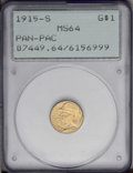 Commemorative Gold: , 1915-S G$1 Panama-Pacific Gold Dollar MS64 PCGS. This Choice MintState example is housed in a first-generation PCGS holder...