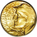 Commemorative Gold: , 1915-S G$1 Panama-Pacific Gold Dollar MS65 PCGS. Highly lustrouswith bright yellow-gold color overall and pale violet acce...