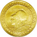 Commemorative Gold: , 1915-S $50 Panama-Pacific 50 Dollar Round MS62 NGC. One of theultimate representations of commemorative coinage, the massi...