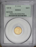 Commemorative Gold: , 1916 G$1 McKinley MS64 PCGS. The pleasingly smooth surfaces revealtypically bold striking details and attractive pastel gr...