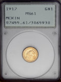 Commemorative Gold: , 1917 G$1 McKinley MS61 PCGS. A few nearly imperceptible obversehairlines deny a higher grade, but this lustrous representa...