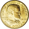 Commemorative Gold: , 1922 G$1 Grant No Star MS64 PCGS. The identical motifs used on theGrant Memorial gold dollar were also used on the Grant M...