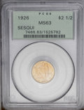 Commemorative Gold: , 1926 $2 1/2 Sesquicentennial MS63 PCGS. Copper-red and limealternate throughout this lustrous and boldly struck representa...