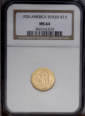 Commemorative Gold: , 1926 $2 1/2 Sesquicentennial MS64 NGC. Dazzling luster exudes fromapricot-gold surfaces that exhibit sharply struck motifs...