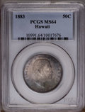 Coins of Hawaii: , 1883 50C Hawaii Half Dollar MS64 PCGS. Beautiful powder-blue,olive, and apricot tones embrace this lustrous single-year ty...