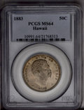 Coins of Hawaii: , 1883 50C Hawaii Half Dollar MS64 PCGS. A bold striking that isthoroughly original, with uninterrupted mint bloom beneath a...