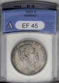 Coins of Hawaii: , 1883 $1 Hawaii Dollar XF45 ANACS. Natural gray-brown color withattractive peripheral iridesc...