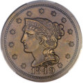Proof Large Cents, 1849 1C N-18, R.6, PR64+ Brown PCGS. CAC....