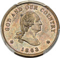 Patterns, 1863 2C Two Cents, Baker-37, Judd-305, Pollock-370, R.4, PR62 Brown PCGS....