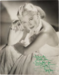 Movie/TV Memorabilia:Photos, A Ginger Rogers Signed Black and White Photograph, Circa 1940s....