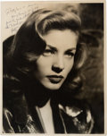 "Movie/TV Memorabilia:Photos, A Lauren Bacall (""Betty"") Signed Black and White Photograph, Circa1940s...."