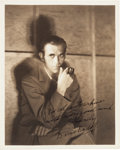 Movie/TV Memorabilia:Autographs and Signed Items, A Boris Karloff Signed Sepia Photograph, Circa 1930s....